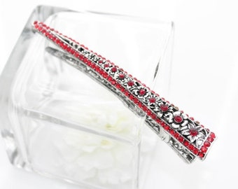 On Sale New Woman's red small flower rhinestone alligator long metal hair clip