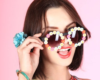 Daisy Sunglasses Flower Embellished Shades Candy Rainbow