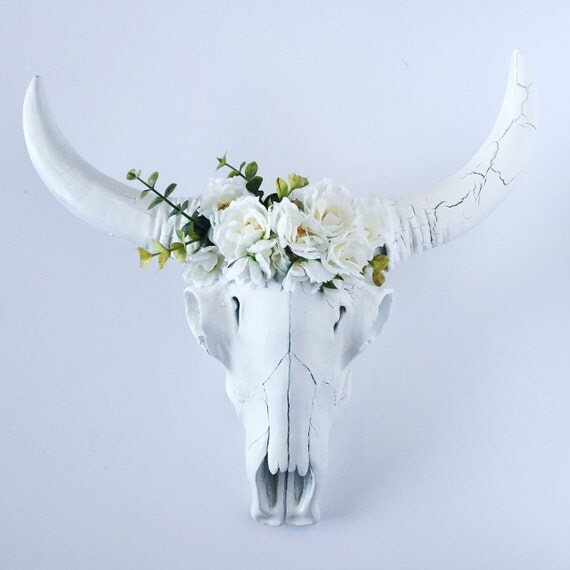 White Floral Crown Faux Steer Skull Cow Skull Animal Head