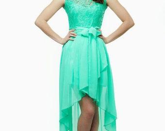 Bridesmaid Dress Mint Lace Party Dress Mint Asymmetrical Wedding Dress Chiffon Mint Maxi Dress Prom