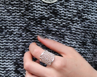 Crocheted  Sterling silver ring