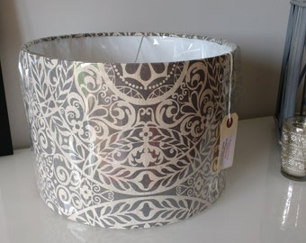 NEW 30cm Drum Lampshade Handmade from gorgeous Tachenda Grey Linen Fabric
