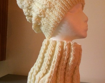 Womens Knitted Winter Hat and Scarf