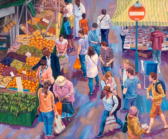 Overlooked, original painting in acrylic of shoppers at Brixton market in South London
