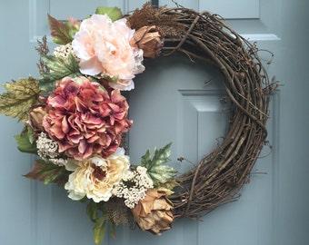 Floral Grapevine Wreath, Wedding Wreath, Wedding Gift, Elegant Pink Floral Wreath