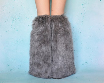 Gray Rave FLuffies, Fur Wolf Cosplay, Gray Boot Covers, Gray Winter Boots, Gray Fur Costume, Gray Cosplay Bootcovers, Rave Wolf
