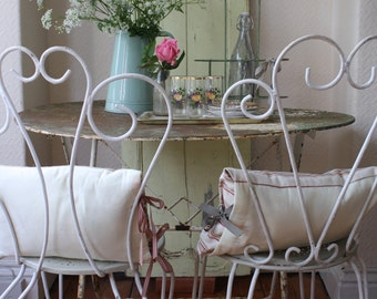 Pretty Pair of Restored Vintage French Wrought Iron Garden Chairs