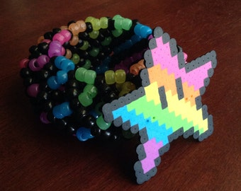 Spiral Star Rainbow 3D Kandi Cuff (glow in the dark)