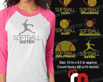 Softball Family Pack Rhinestone Template Digitial Download