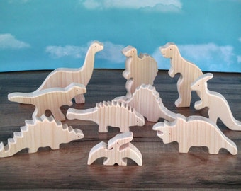 Wooden toy dinosaurs - Wooden toys - Dinosaur toys - T-Rex - Brontosaurus toy - Easter gift - Birthday gift - Gift under 25 - Toy to paint