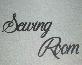 Sewing Room Wood Wall Words Art Decor Sew