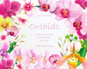Watercolor Flowers Clipart, Orchids Hand Painted, Floral Clip Art, Watercolor Flowers, Invitation, Diy, Wedding flowers, Spring. Orchids