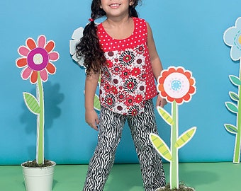 McCall's Pattern M7346 Children's/Girls' Overlay Tops, Yoked Dresses, Shorts and Pants
