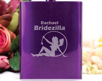 Personalised Hens Night Hot Purple Flask