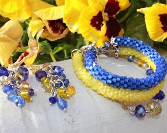 Blue and yellow Seed Bead Bracelet Crystal Bracelet Triple Bracelet Dangle Earrings Bracelet Set