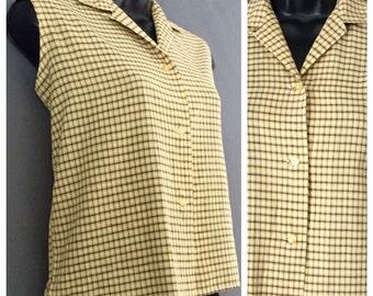 50s Spartan Classic Blouse Vintage Sleeveless Top Plaid Button Down Shirt 1950s Mod Top Mini-Check Print Plaid Top Medium Rockabilly Top!