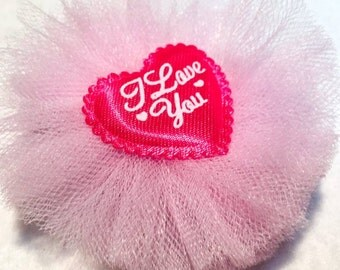 Valentine Hair Bow Clip - 3 inch Tulle Layered Bow with I Love You Center Heart - Valentines Day - Birthday - Gift - Girls - Baby