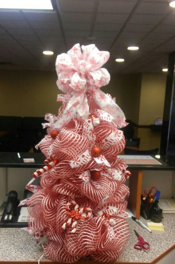 Wondrous Christmas Tree Deco Mesh Lighted Tree Red By Myadoorablewreaths Easy Diy Christmas Decorations Tissureus