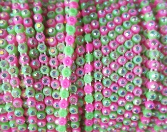 SS8 Alternating Pink / Green Rhinestone Banding with AB Stone - Yard
