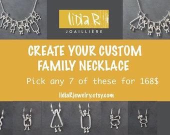 Custom family tree necklace - Custom family tree - Silver necklace