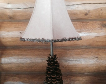 hand carved pine cone lamp