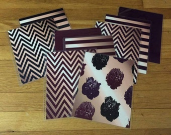 Front and Back Cover Set Raspberry Rose Gold Flower Stripe Chevron for use with Erin Condren