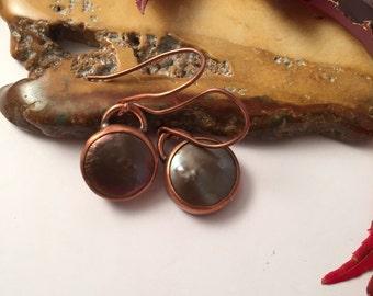 Brown Fresh Water Pearl Earrings set in Copper, Rustic Earrings, Cowlgirl Earrings, Fall Earrings