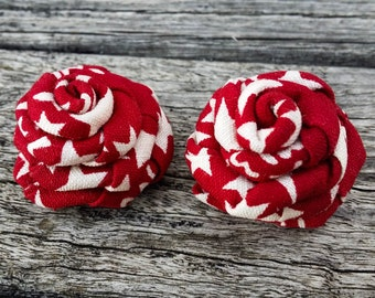 Red White Lapel Rose - Spring Lapel Flower - Men Lapel Flower - Wedding Lapel Flower - Lapel Flower Pin-Spring Racing Carnival-Melbourne Cup