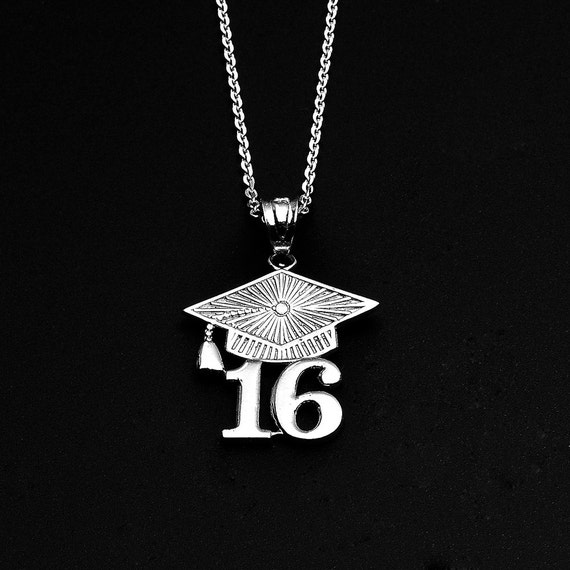 2016 class graduation sterling silver pendant necklace
