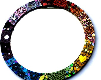 Mosaic Mirror, Rainbow Stained Glass Art, Boho Home Decor, Colorful Wall Hanging