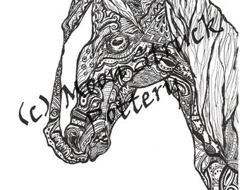 animal coloring page horse coloring page adult coloring page printable coloring sheet