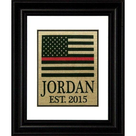 Thin Red Line Flag Burlap Print Firefighter By
