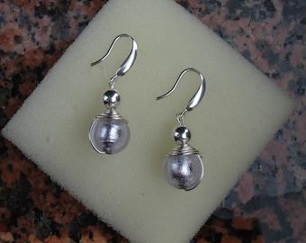 Muranoglasohrringe with sterling silver, unusual design