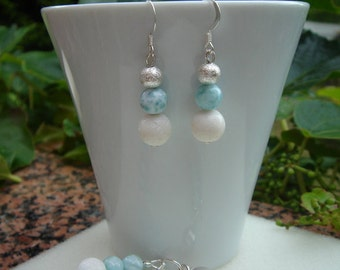 Earrings with white coral and Larimar in 925 Silver, beautiful summer!