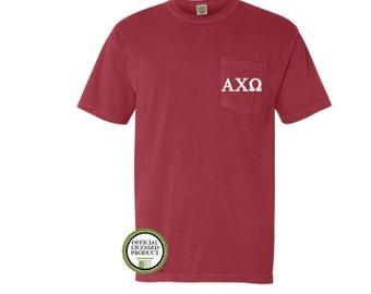 Alpha Chi Omega Comfort Colors Pocket T-shirt, Embroider Pocket Shirt, Sorority Shirt, Big Little Gift, Pocket Tee,