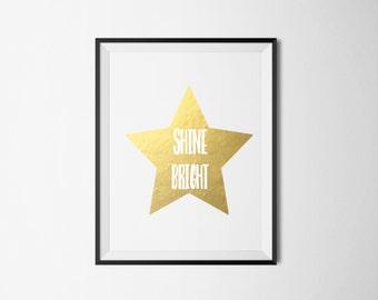 REAL GOLD FOIL Shine Bright Star Foil Print