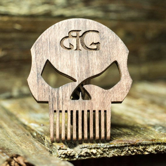 Punisher Skull Beard Comb W Leather Case Amp Optional By