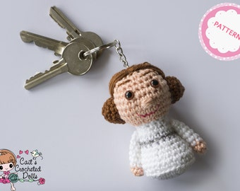 PATTERN crocheted Star Wars princess Leia keychain