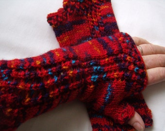 mittens hand knitting, lace, Fingerless, gloves knitted hand Warmers, Red