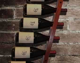 6 bottle Hanging Wall Wine Rack - handmade from Jarrah hardwood