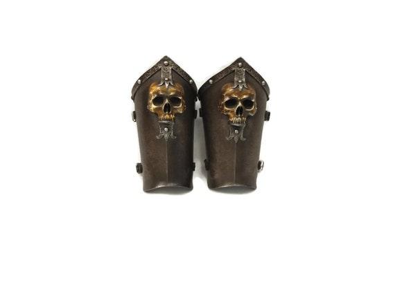 Larp Armor Ominous skull bracers.