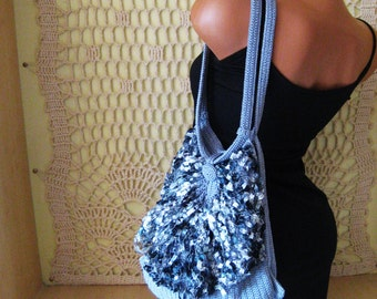 Woman Handbag, Wife Gift Purse, Crochet Handbag,  Elegant  Gray Handbag, Special Gift for her, Gift for girlfriend, Woman Accessories