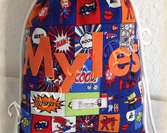 Superhero Personalised PE Bag, Kid's PE Bag, Drawstring, Swim Bag, Gym Bag, Superhero Named School Bag, PE Kit, Nursery Bag, Water Resistant