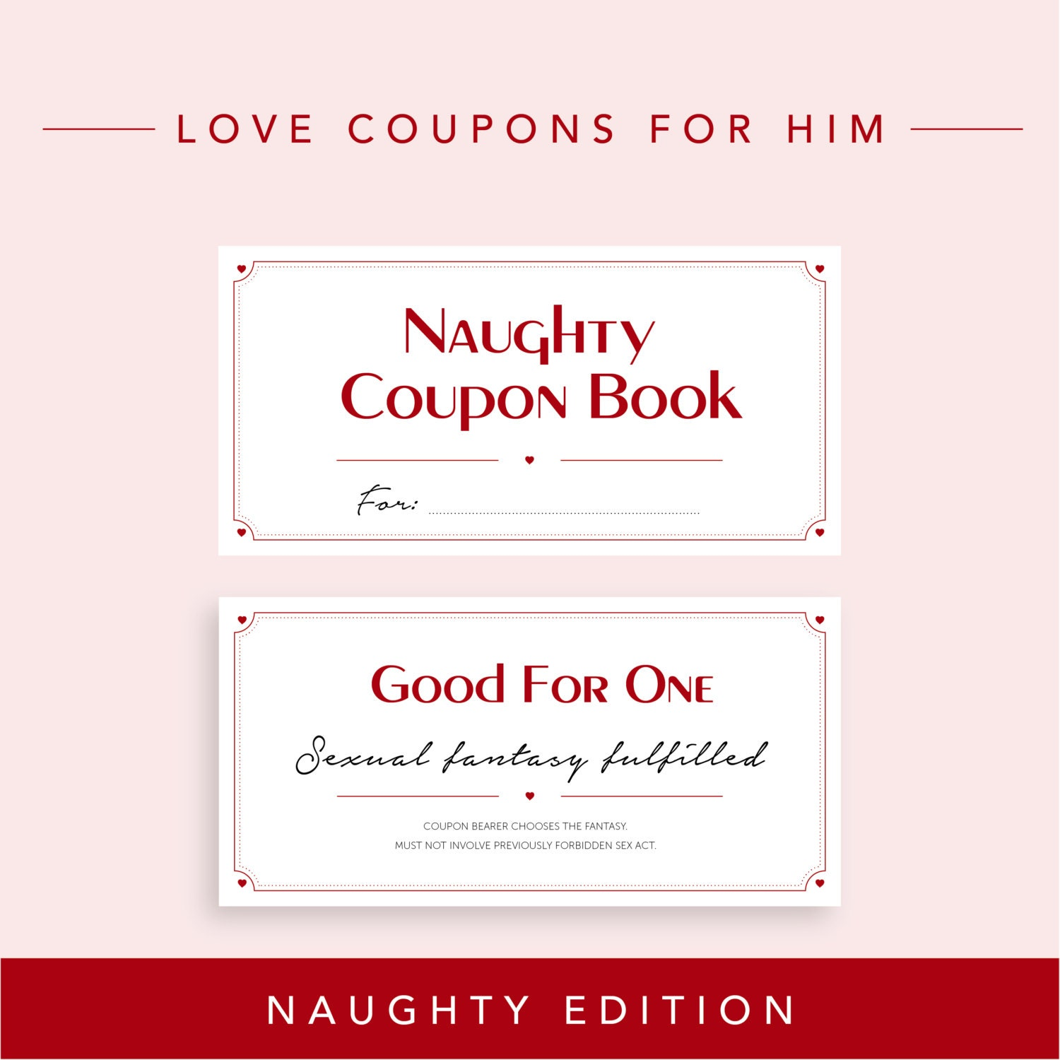 Naughty edition love coupons for boyfriend valentine 39 s for Coupon book template for husband