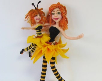 Doll, Posable Doll, Mothers day. Ooak needle felt doll, Fairy, bumble bee, mother daughter doll, Felt flowers ,sunflower