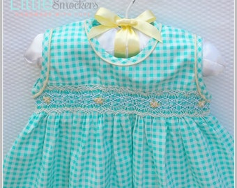 Beautiful Acqua green hand smocked baby dress  - Size 1