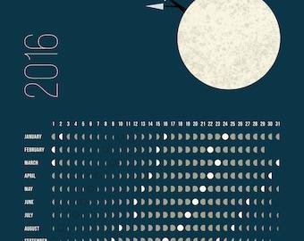 NORTHERN Hemisphere, Moon Calendar 2016, lunar calendar, printable moon phases calendar, printable lunar calendar, 11x14 moon calendar