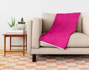 Hot Pink Blanket, Hot Pink Throw Blanket, Pink Fleece Blanket, Pink Throw Blanket, Hot Pink Toss Blanket, Hot Pink Bedding, Pink Bedroom