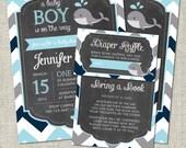 Whale Baby Shower Invitation, Whale Invitation, Whale, Light Blue, Gray, Navy Blue, Chevron | Printable