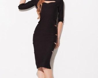 Classic black midi dress / Slits Dress / cut dress / Black midi dress / Knee length dress / Classic dress / Black dress / Elegant dress